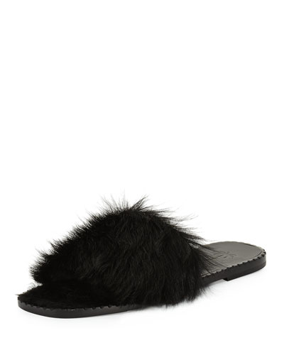 Calf Fur Flat Slide Sandal, Black