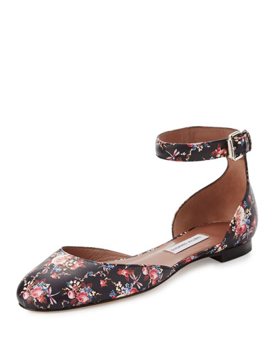Lina Rose-Print Ankle-Wrap Flat, Black/Multi