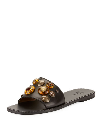 Brass Embellished Slide Flat Sandal, Black