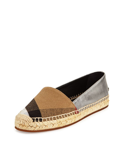 Hodgeson Check Canvas & Leather Espadrille Flat, Black/Silver