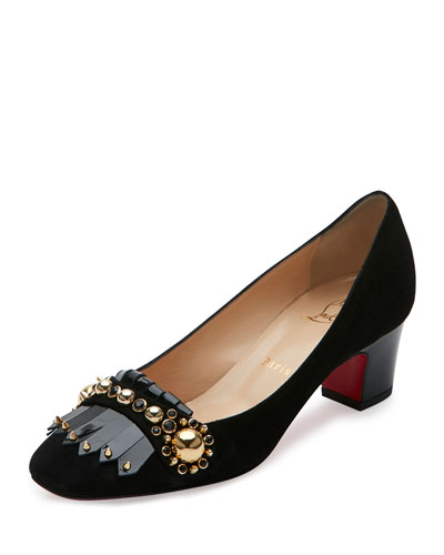 Oaxacana Kiltie Red Sole Pump, Black