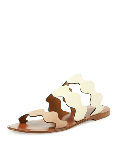 Scalloped Triple-Strap Flat Slide Sandal, Bambi Dots