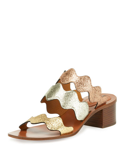 Scalloped Triple-Strap Chunky-Heel Sandal, Multicolor