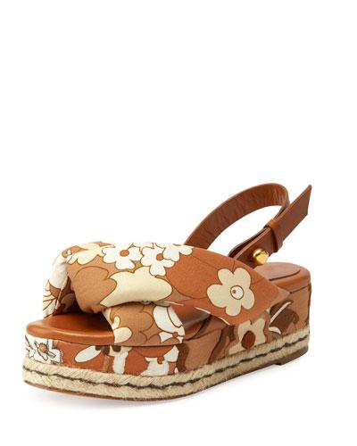 Floral Canvas Platform Espadrille Sandal, Tan/Multi