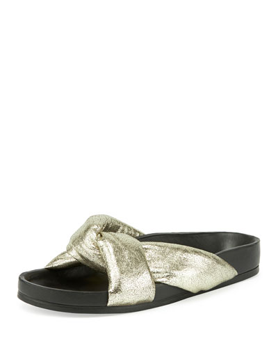 Leather Crisscross Slide Sandal, Gray Glitter