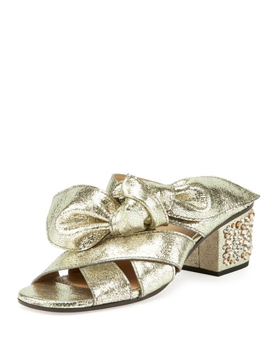 Leather Bow Chunky-Heel Sandal, Gray Glitter