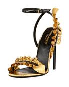 Ruffled Snakeskin 110mm Sandal, Black/Gold