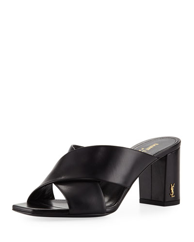Leather Crisscross 70mm Slide Sandal, Black