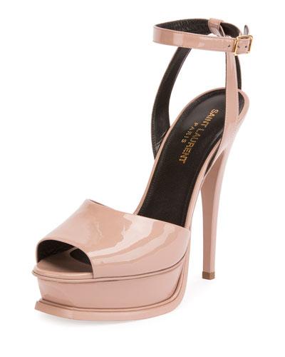 Patent Ankle-Strap 135mm Sandal, Pink
