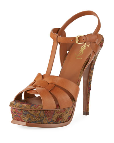 Tribute Tapestry 135mm Platform Sandal, Brown