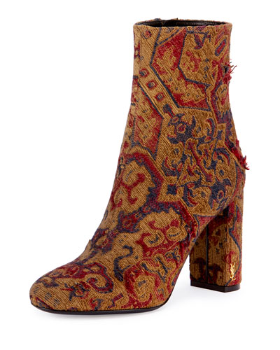 Babies Tapestry 95mm Ankle Boot, Red
