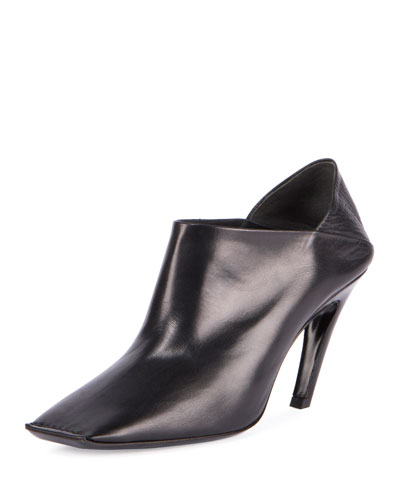 Square-Toe Leather Bootie, Noir