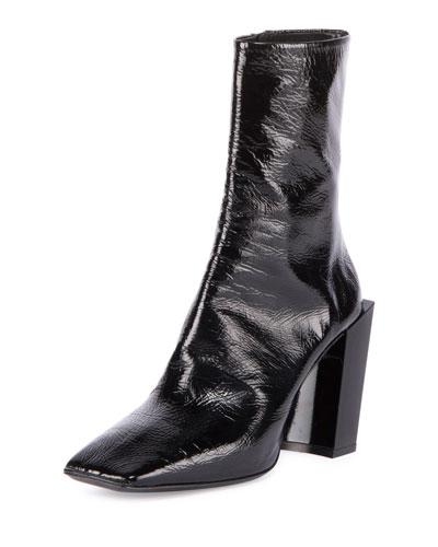 Patent Square-Toe Block-Heel Bootie, Noir