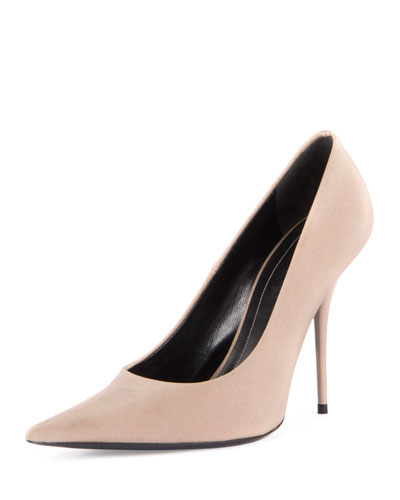 Satin Pointed-Toe 110mm Pump, Beige