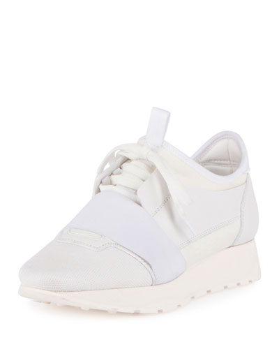 Mixed-Media Leather Lace-Up Sneaker, White