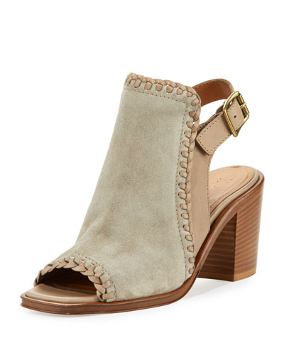 Charlize Whipstitched Suede Block-Heel Sandal, Gray