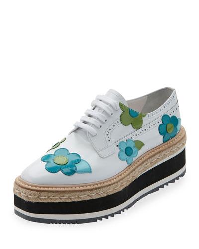 Microsole Floral Platform Espadrille Sneaker, Bianco