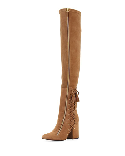 Suede Laced-Side Over-the-Knee Boot, Beige