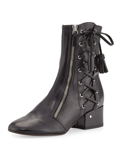Leather Laced-Side Bootie, Black
