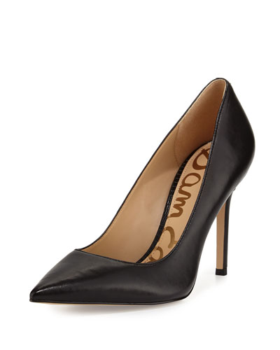 Hazel Pointed-Toe Leather Pumps, Black