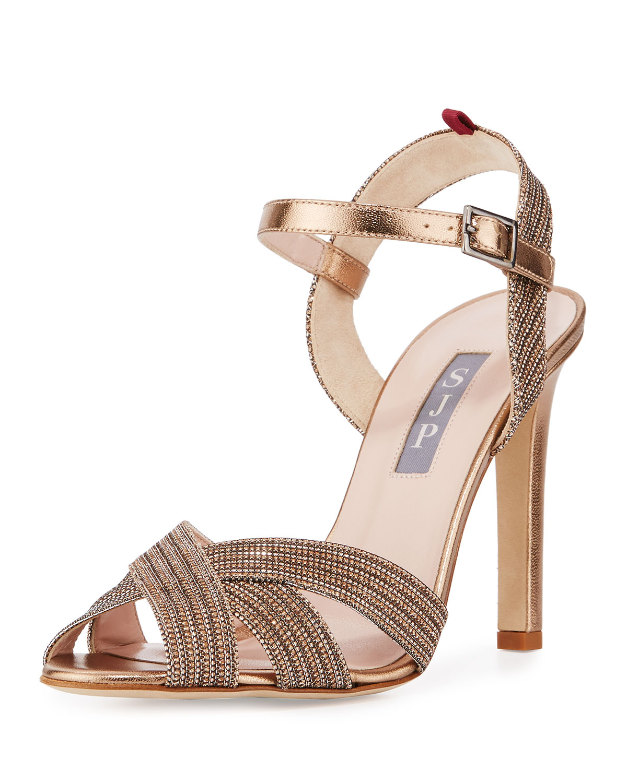 Sheridan Shimmery Strappy Sandal, Tout/Gold