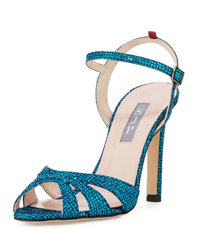 Westminster Glitter Strappy Sandal, Blue