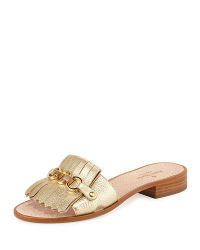 Brie Metallic Chain Flat Sandal, Gold
