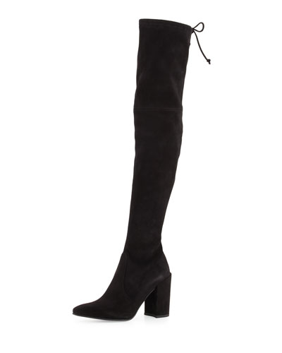 Highstreet Suede Chunky-Heel Over-The-Knee Boot, Black