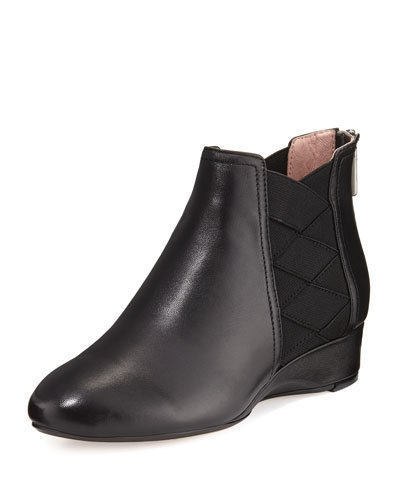 Folks Leather Demi-Wedge Bootie, Black