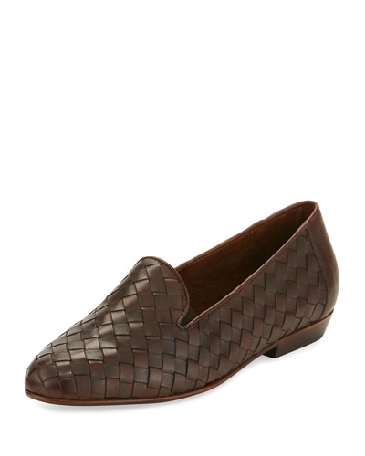 Nader Woven Leather Loafer, Tan