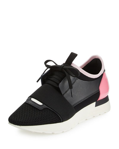 Mixed-Media Leather Lace-Up Sneaker, Black/Pink