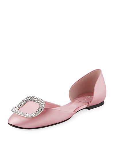 Chips Strass Satin Ballerina Flat, Pink