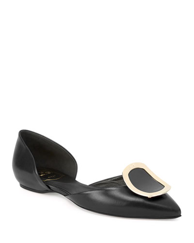 Sexy Choc Leather Ballet Flats, Black