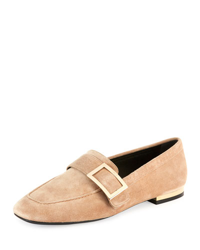 Suede Metal-Buckle Loafer, Beige
