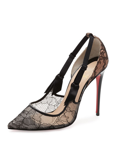 Hot Jeanbi Lace 100mm Red Sole Pump, Version Black