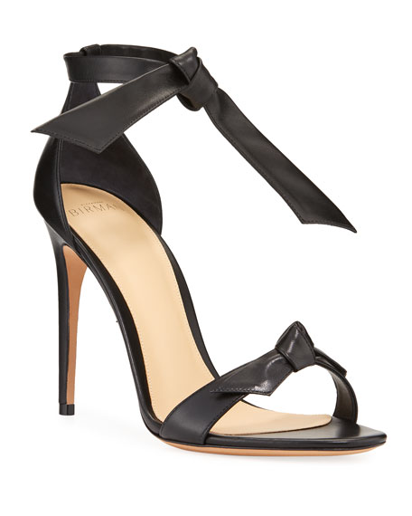 Alexandre Birman Clarita Leather Ankle-Tie 100mm Sandals, Black