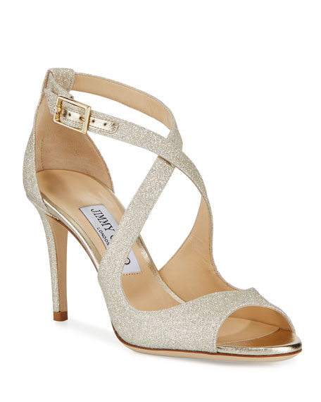 Jimmy Choo Emily Glitter Crisscross 85mm Sandals, Gold