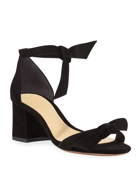 Alexandre Birman Clarita Suede 60mm City Sandals, Black