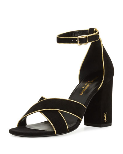 Babies Crisscross 90mm Sandal, Black/Gold