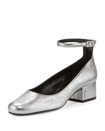 Babies Metallic Ankle-Wrap 40mm Pump, Gray