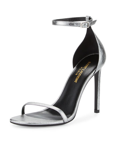 Jane Metallic Ankle-Wrap 105mm Sandal, Steel Gray (Acier)