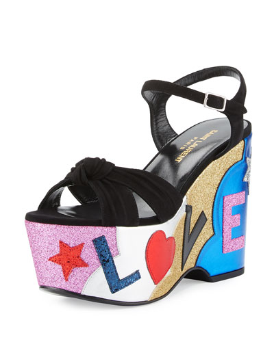 Candy Love Wedge Sandal, Nero/Multi