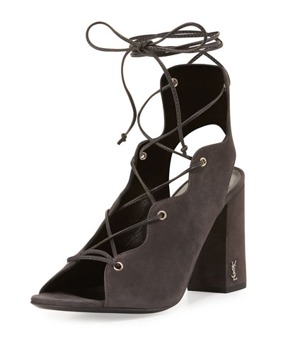 Babies Suede Lace-Up 90mm Sandal, Gray (Lavagna)