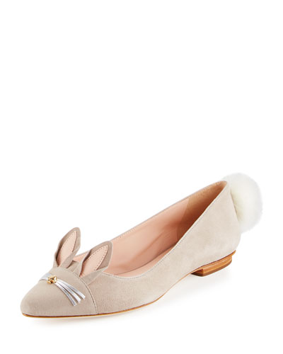 edina suede bunny ballerina flat, clay