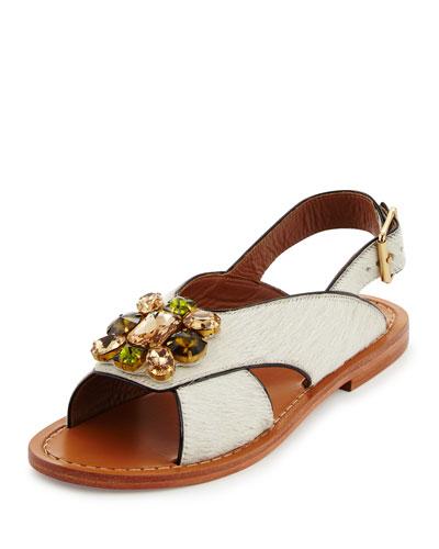 Jeweled Calf-Hair Flat Slingback Sandal, Natural/White