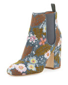 Mia Boheme Embroidered 85mm Chelsea Boot, Blue