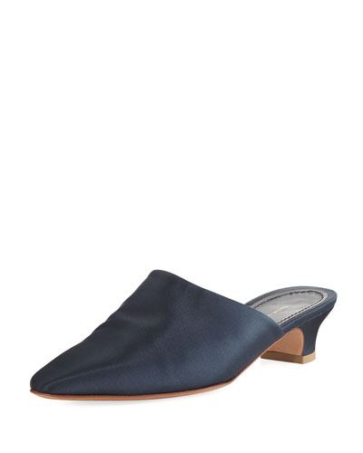 Elegant Silk 40mm Mule Pump, Blue