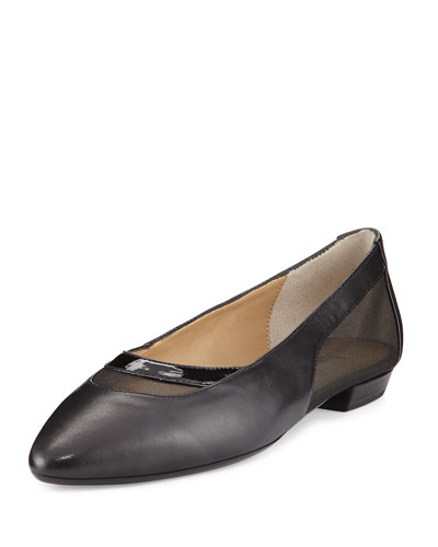 Gena Napa Leather Mesh Flat, Black