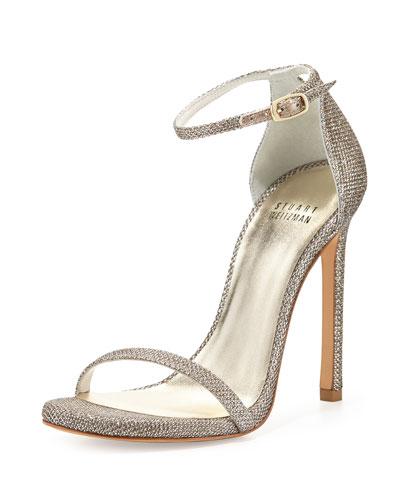 Nudist Ankle-Strap Sandals, Platinum
