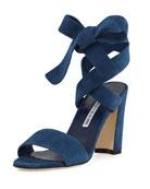 Tondala Suede Ankle-Wrap Sandal, Blue